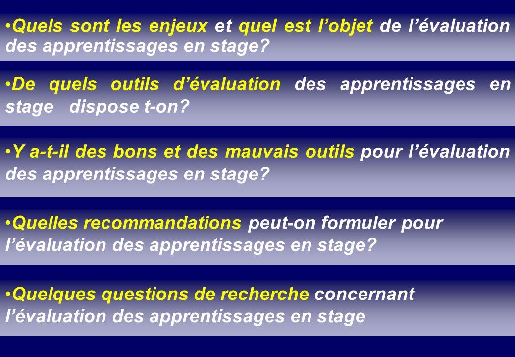 Quels sont les enjeux et quel est l'objet de l'évaluation des apprentissages en stage