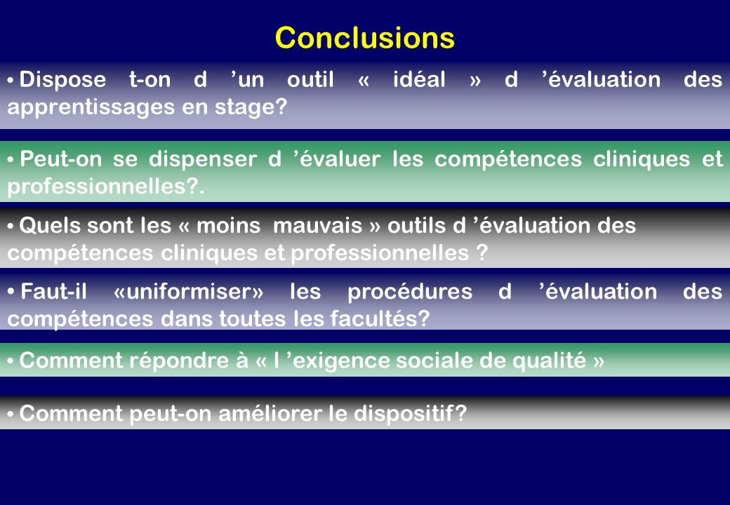 Conclusions Dispose t-on d 'un outil « idéal » d 'évaluation des apprentissages en stage