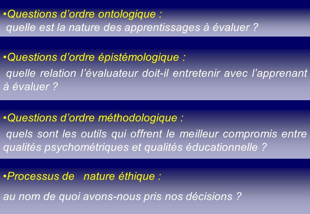 Questions d'ordre ontologique :