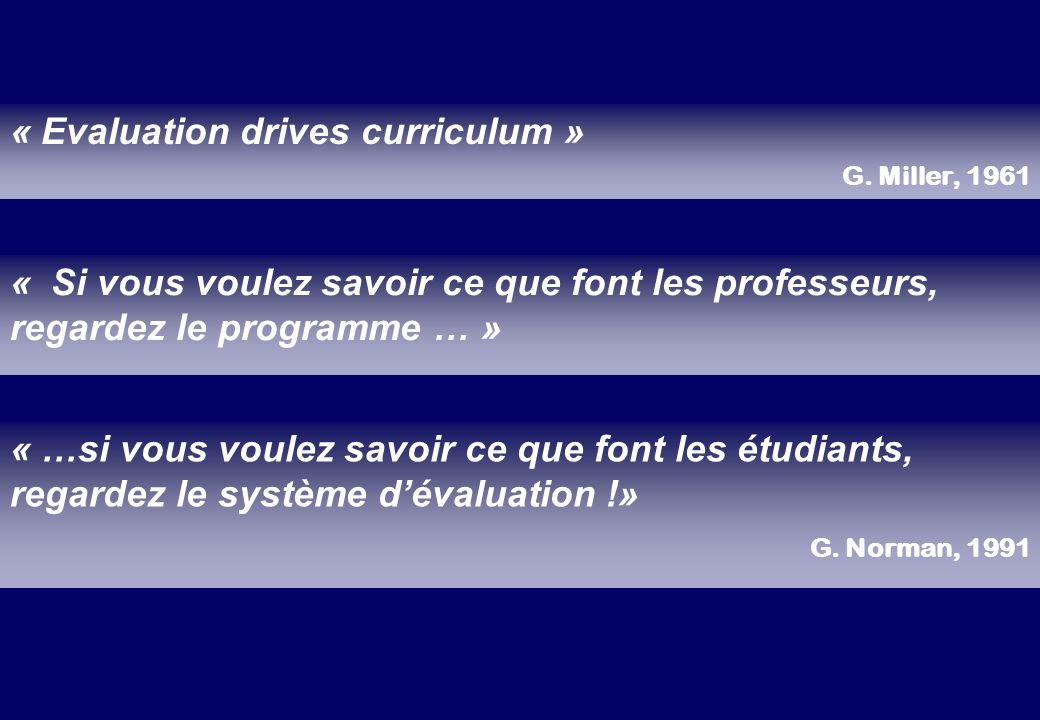 « Evaluation drives curriculum »
