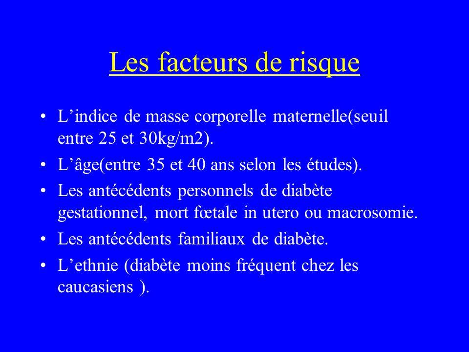 Les facteurs de risque L'indice de masse corporelle maternelle(seuil entre 25 et 30kg/m2). L'âge(entre 35 et 40 ans selon les études).