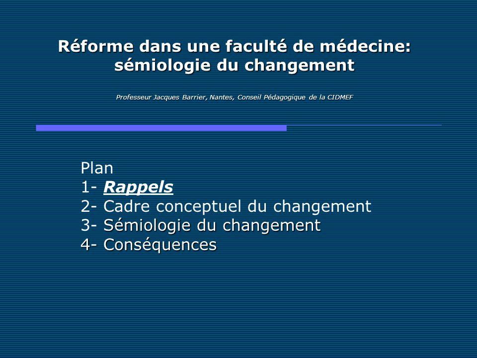 Réforme dans une faculté de médecine: sémiologie du changement Professeur Jacques Barrier, Nantes, Conseil Pédagogique de la CIDMEF