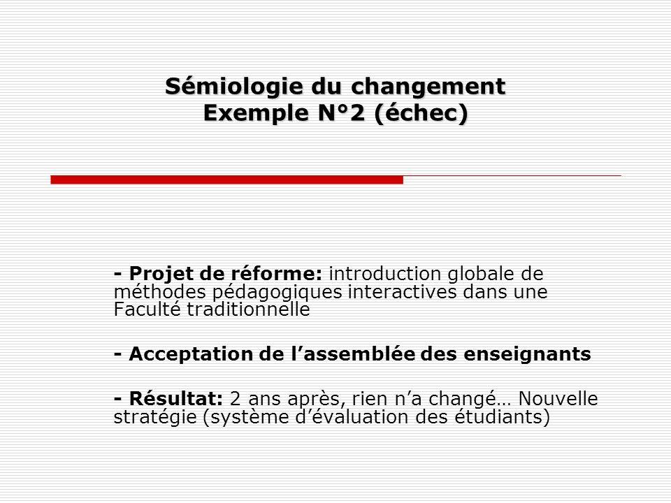Sémiologie du changement Exemple N°2 (échec)