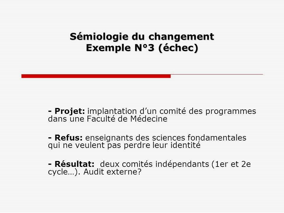 Sémiologie du changement Exemple N°3 (échec)