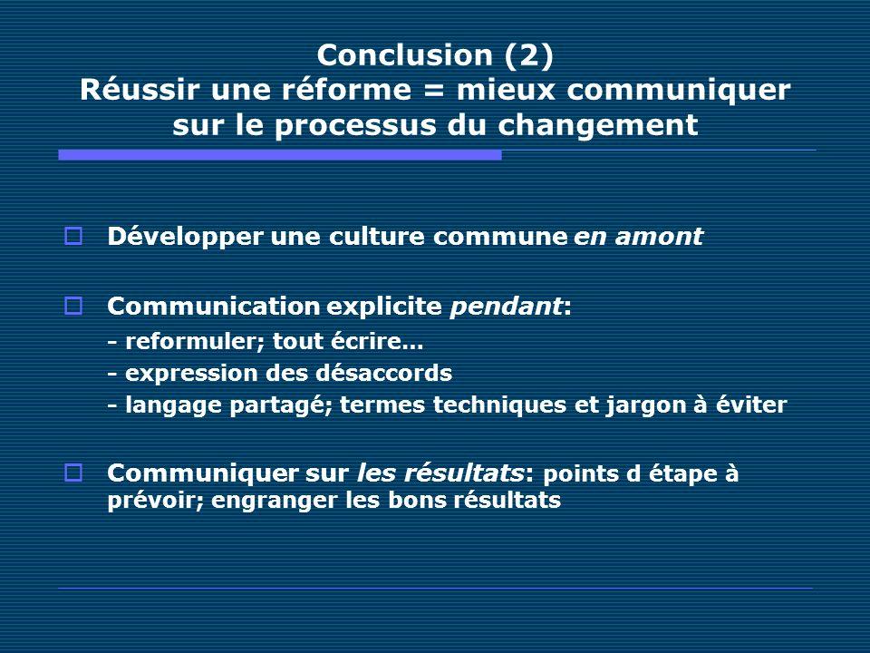 Conclusion (2) Réussir une réforme = mieux communiquer sur le processus du changement