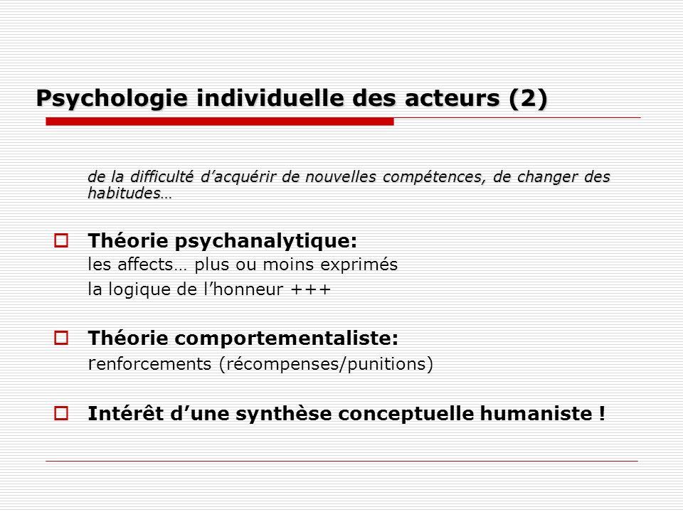 Psychologie individuelle des acteurs (2)