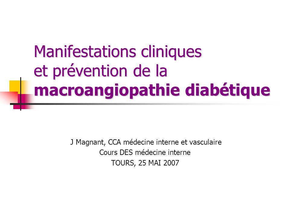 Manifestations cliniques et prévention de la macroangiopathie diabétique