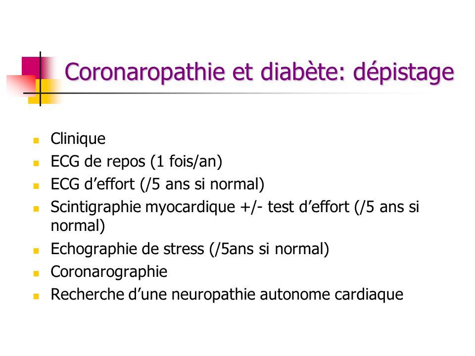 Coronaropathie et diabète: dépistage