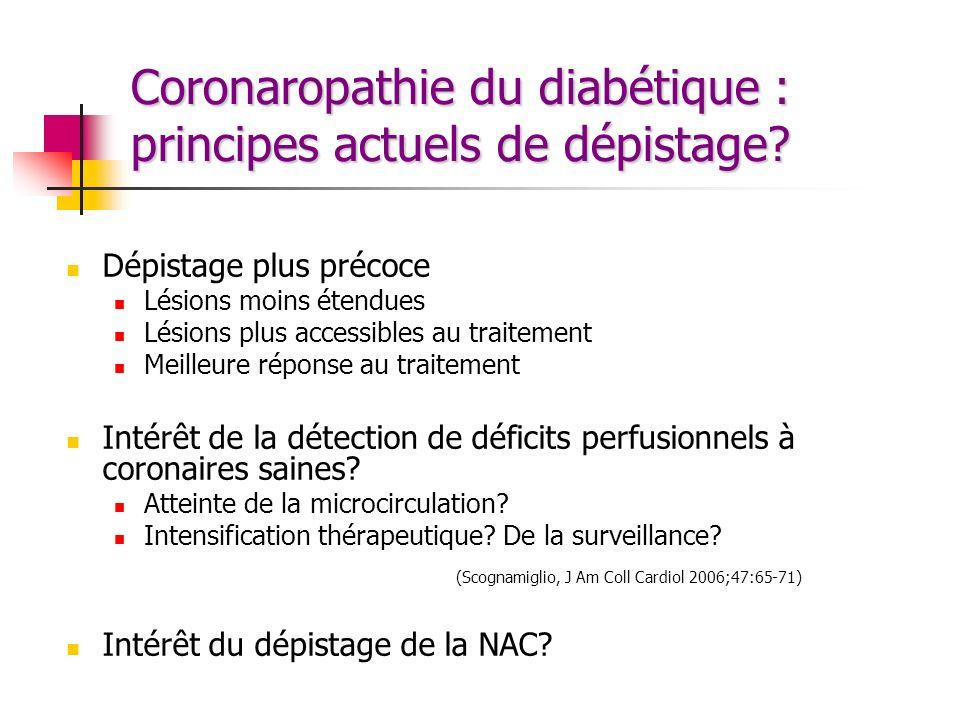 Coronaropathie du diabétique : principes actuels de dépistage