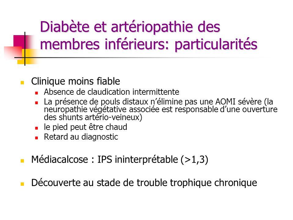 Diabète et artériopathie des membres inférieurs: particularités