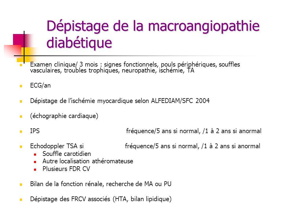 Dépistage de la macroangiopathie diabétique