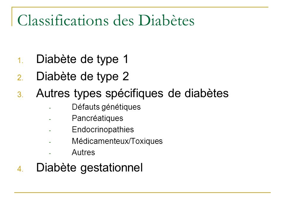 Classifications des Diabètes
