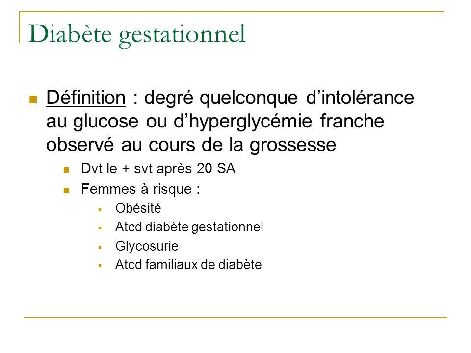 Diabète gestationnel Définition : degré quelconque d'intolérance au glucose ou d'hyperglycémie franche observé au cours de la grossesse.
