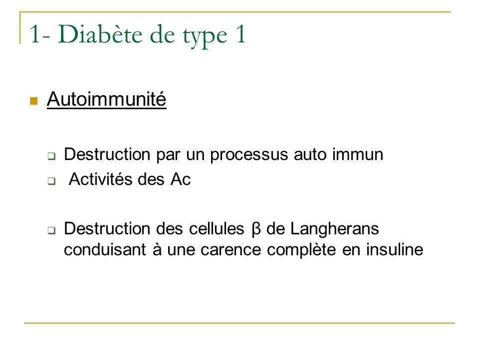 1- Diabète de type 1 Autoimmunité