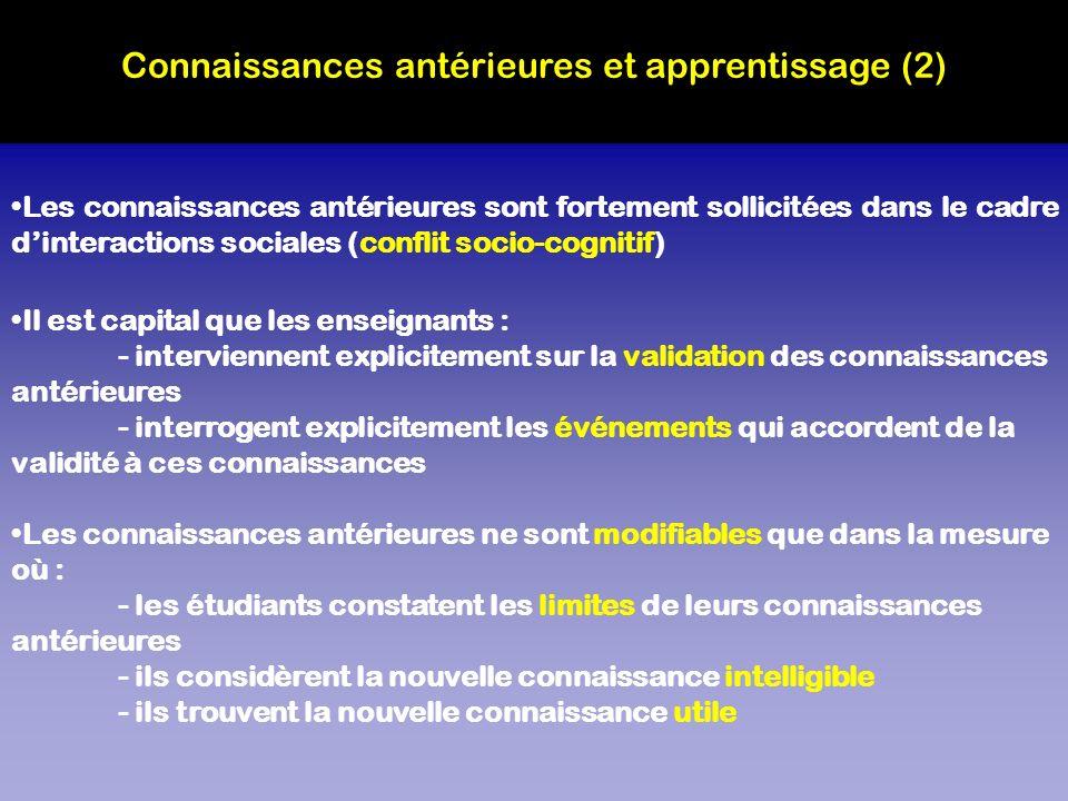 Connaissances antérieures et apprentissage (2)