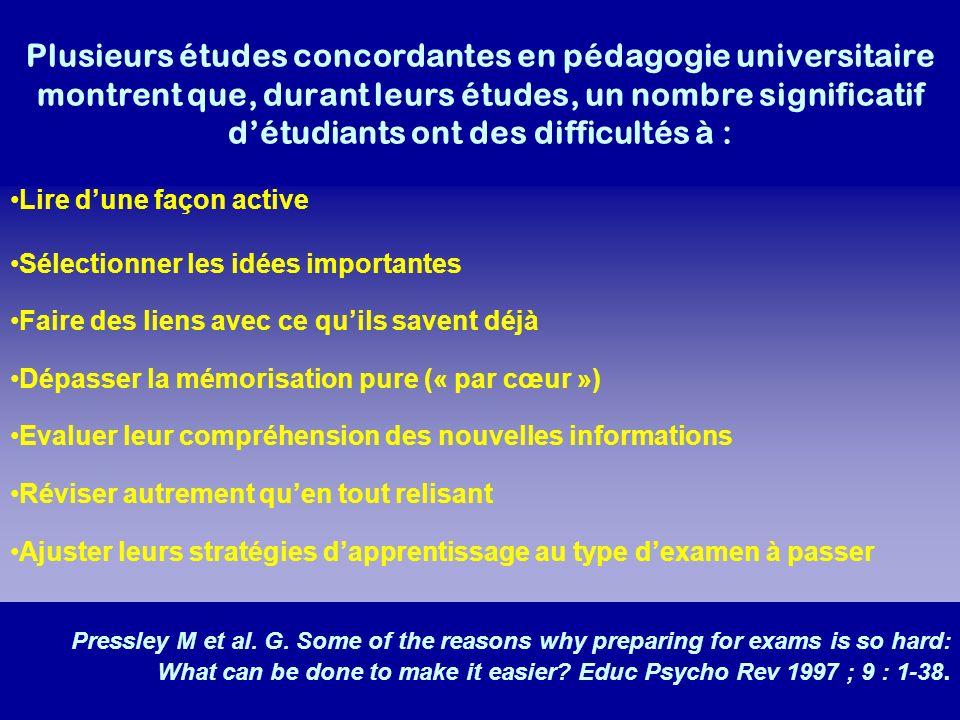 Plusieurs études concordantes en pédagogie universitaire montrent que, durant leurs études, un nombre significatif d'étudiants ont des difficultés à :