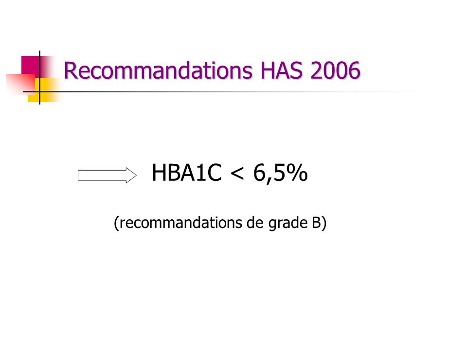 Recommandations HAS 2006 HBA1C < 6,5% (recommandations de grade B)