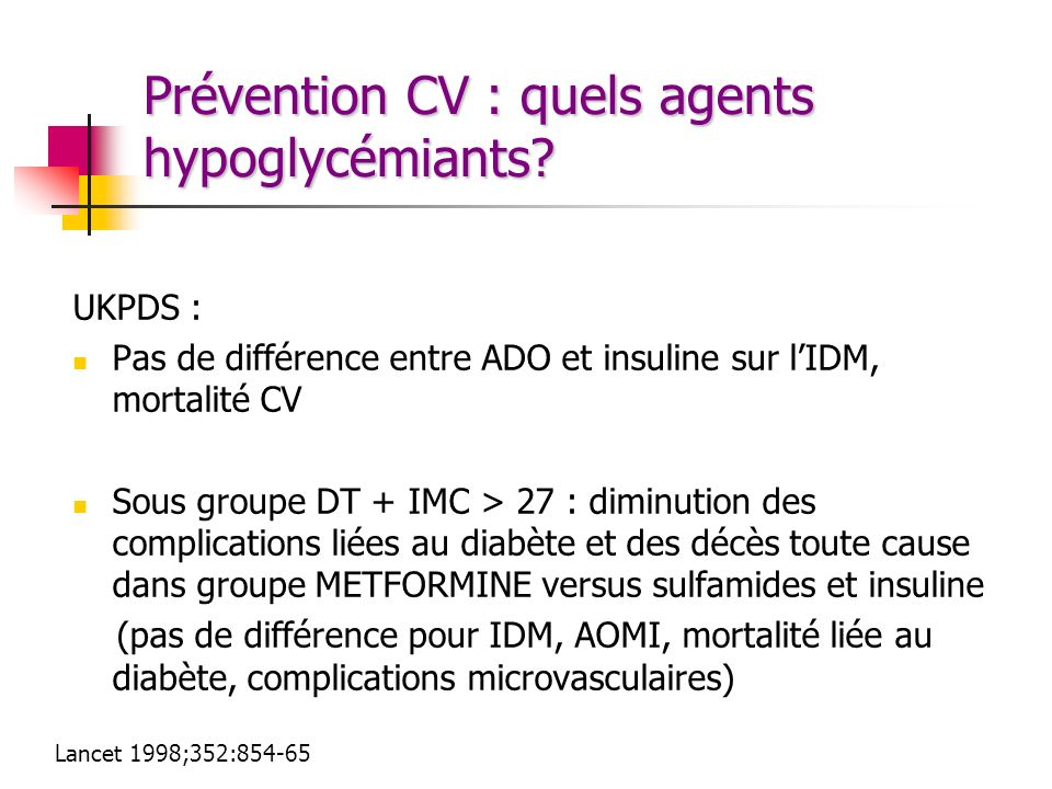 Prévention CV : quels agents hypoglycémiants