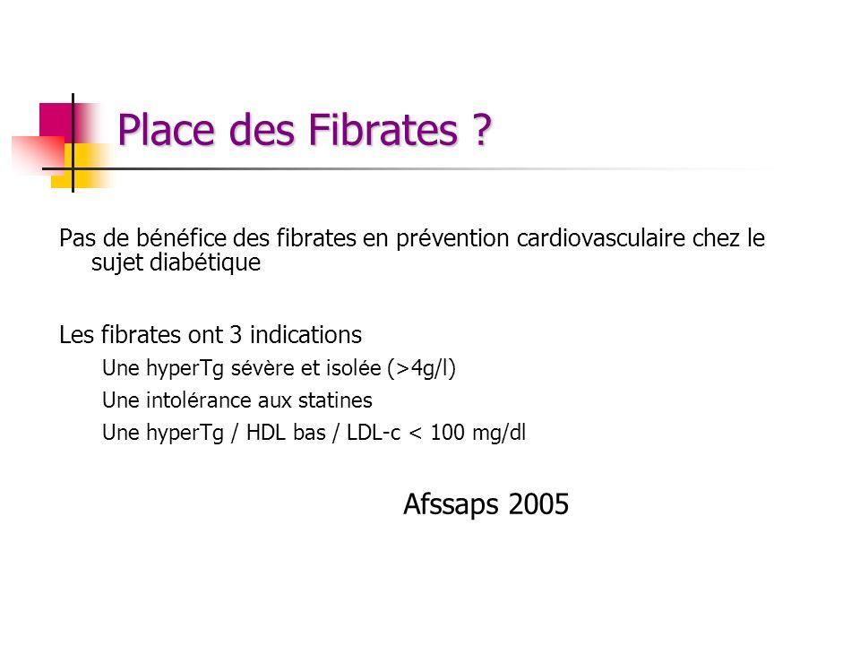 Place des Fibrates Pas de bénéfice des fibrates en prévention cardiovasculaire chez le sujet diabétique.
