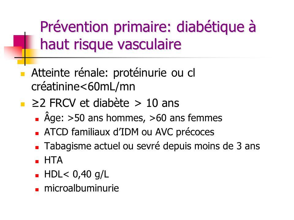 Prévention primaire: diabétique à haut risque vasculaire