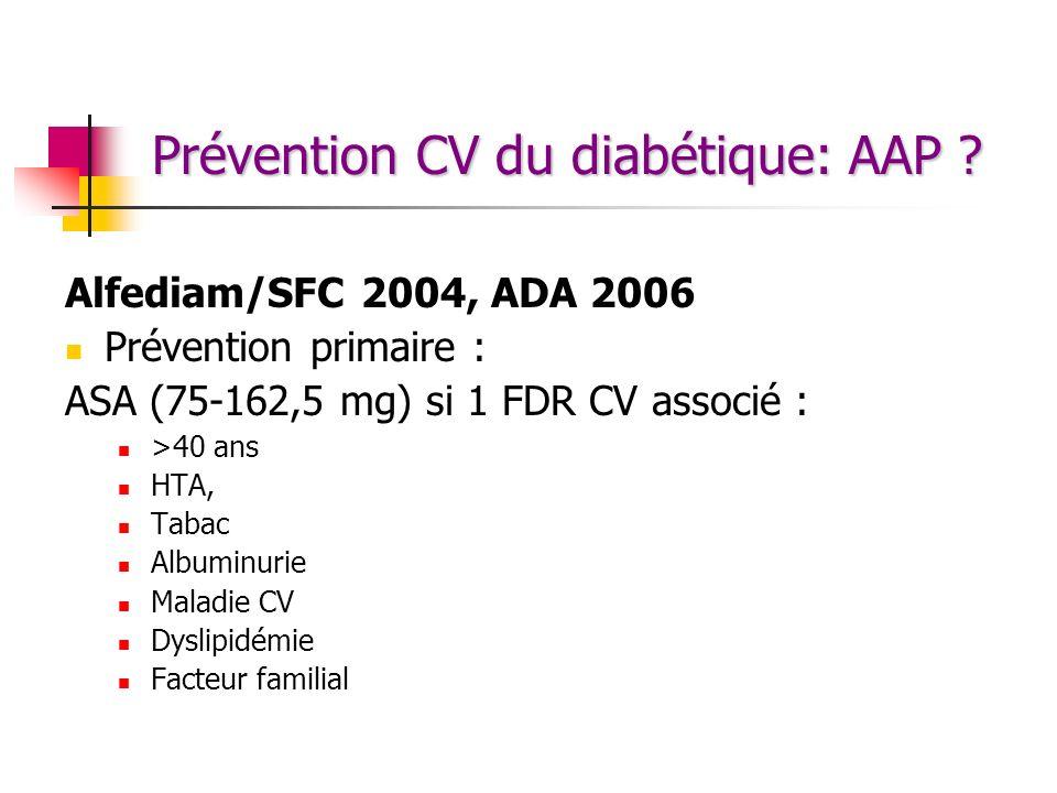 Prévention CV du diabétique: AAP