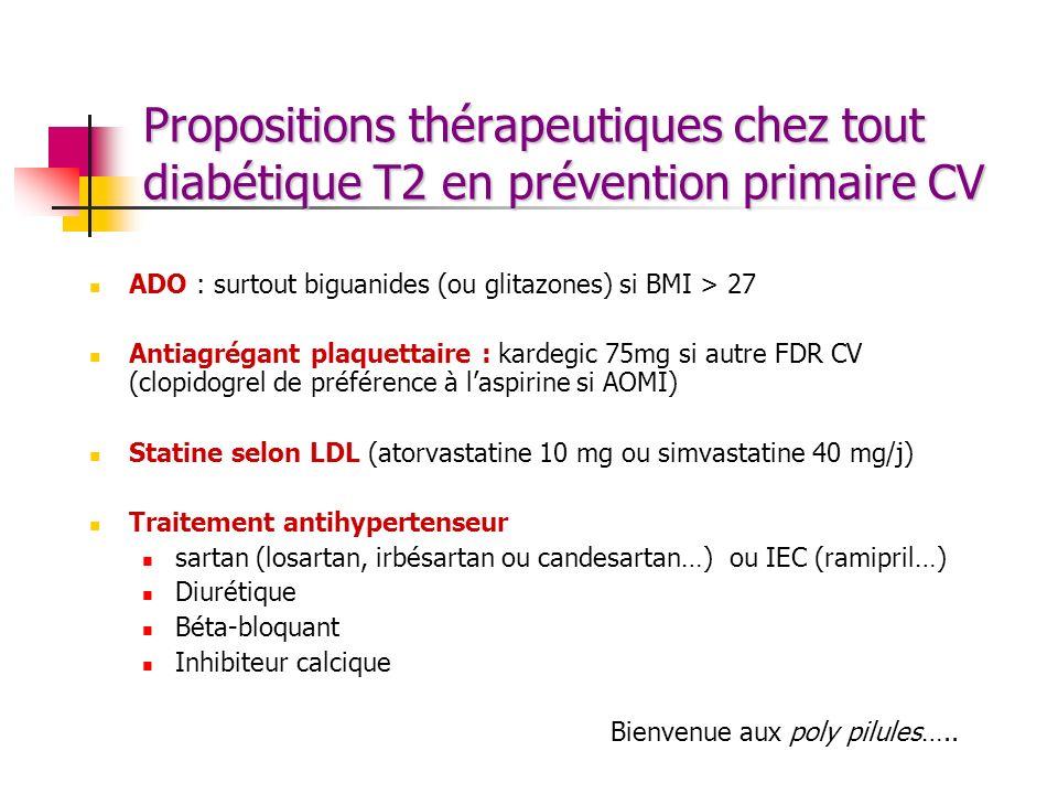 Propositions thérapeutiques chez tout diabétique T2 en prévention primaire CV