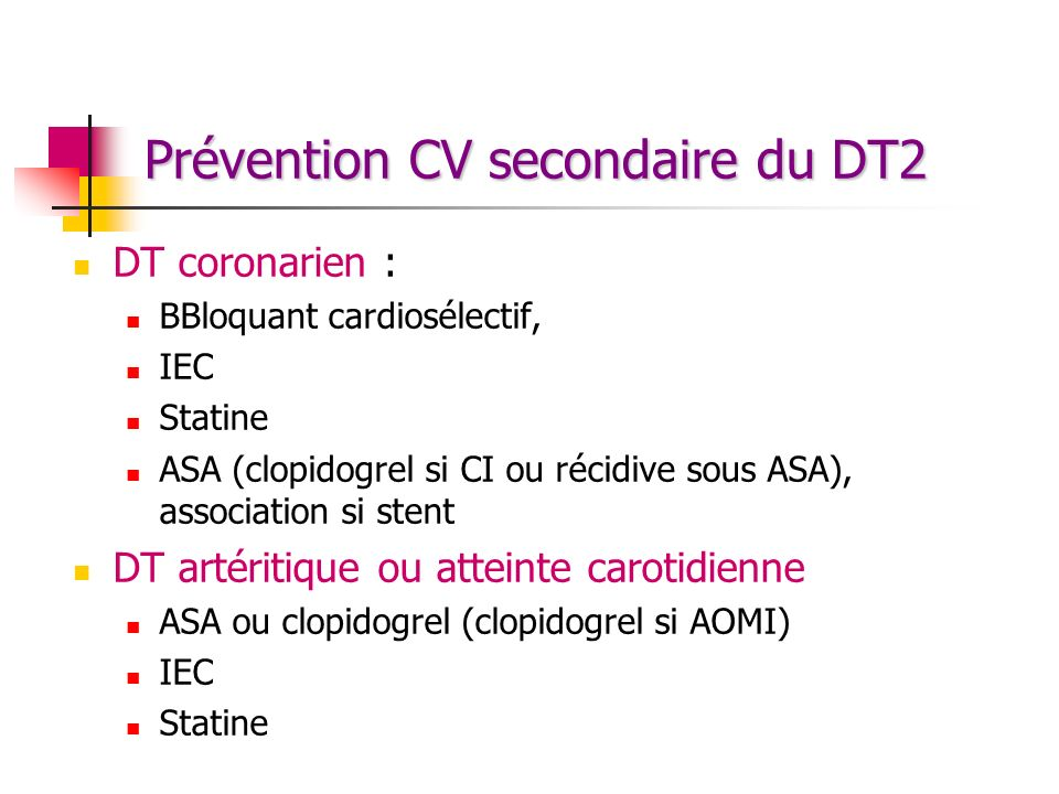 Prévention CV secondaire du DT2