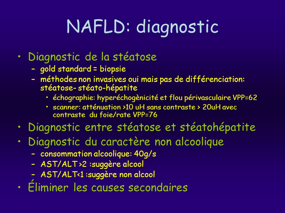 NAFLD: diagnostic Diagnostic de la stéatose