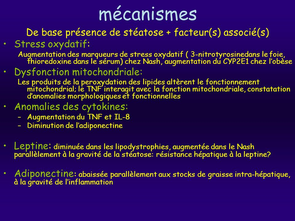 De base présence de stéatose + facteur(s) associé(s)