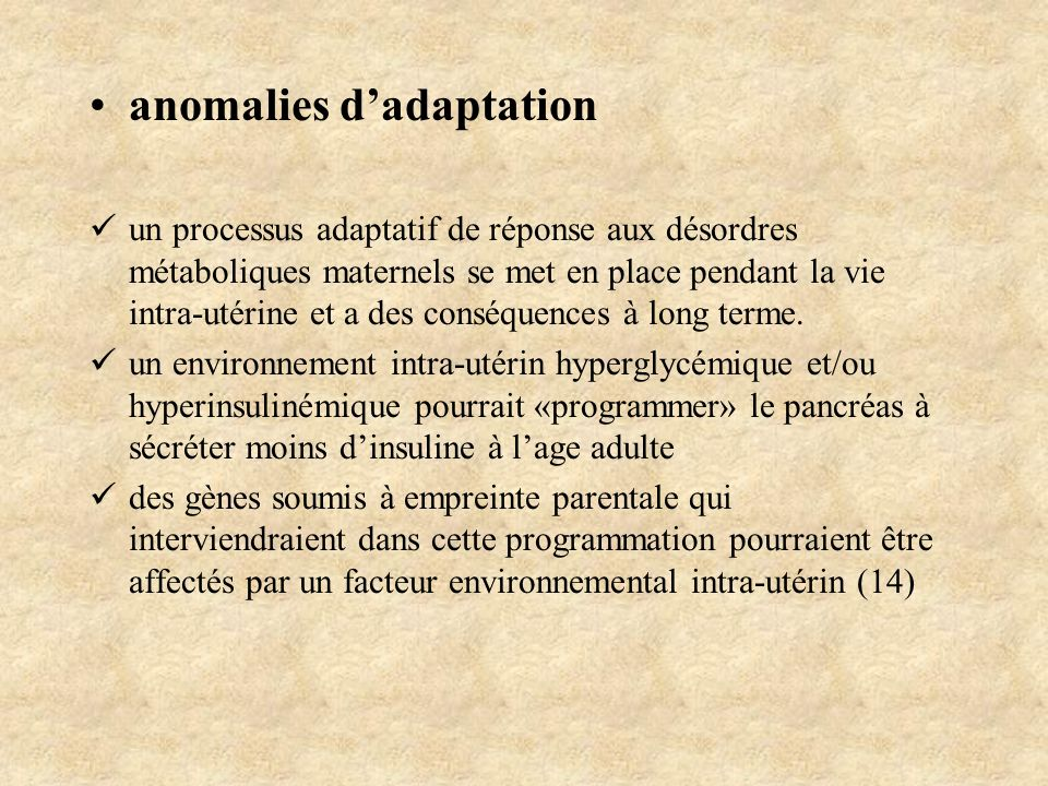 anomalies d'adaptation