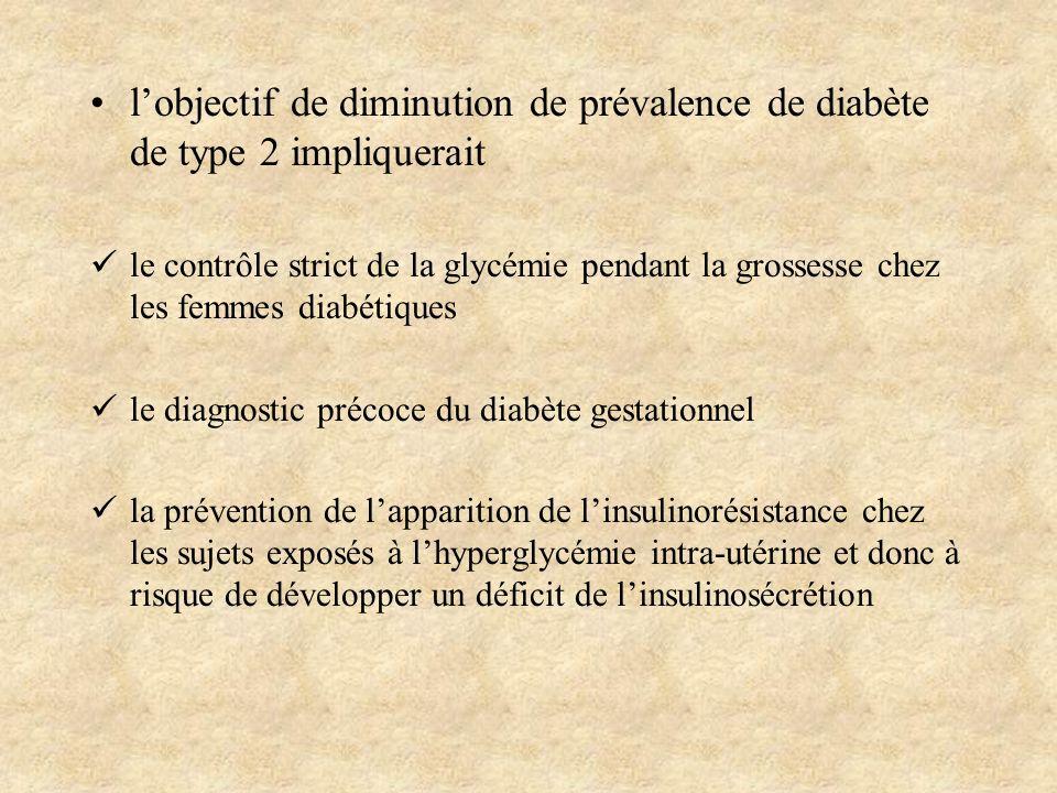 l'objectif de diminution de prévalence de diabète de type 2 impliquerait
