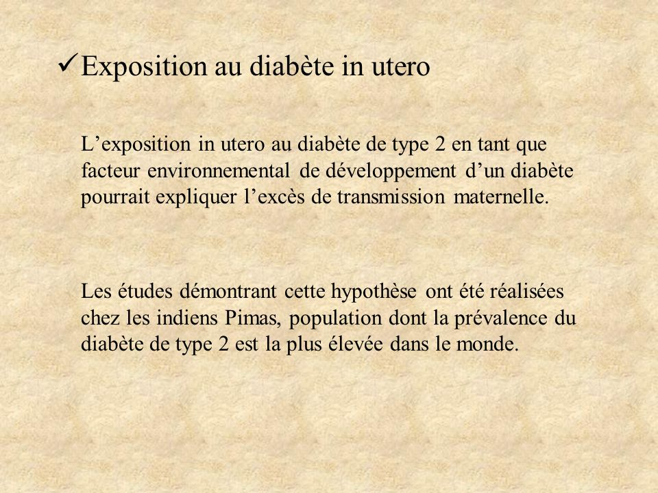 Exposition au diabète in utero