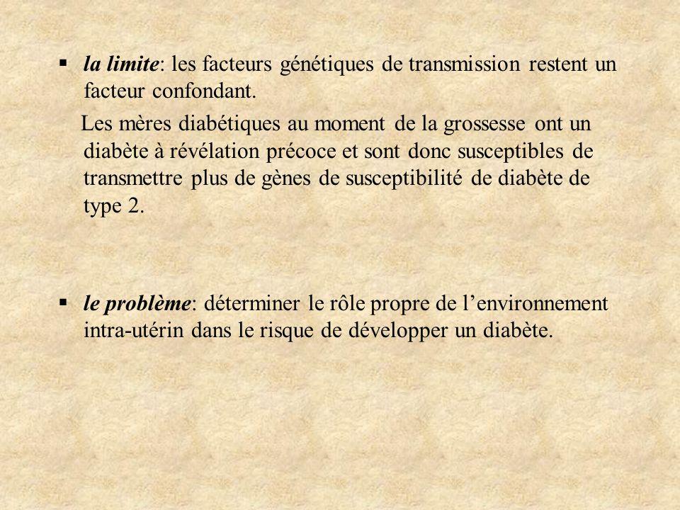 la limite: les facteurs génétiques de transmission restent un facteur confondant.
