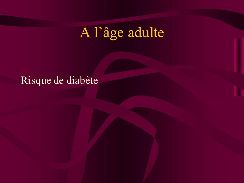 A l'âge adulte Risque de diabète