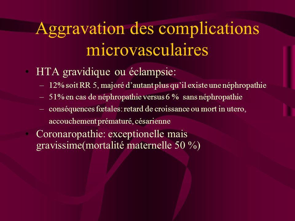 Aggravation des complications microvasculaires