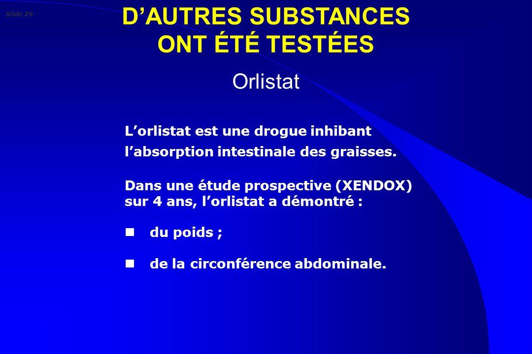 D'AUTRES SUBSTANCES ONT ÉTÉ TESTÉES