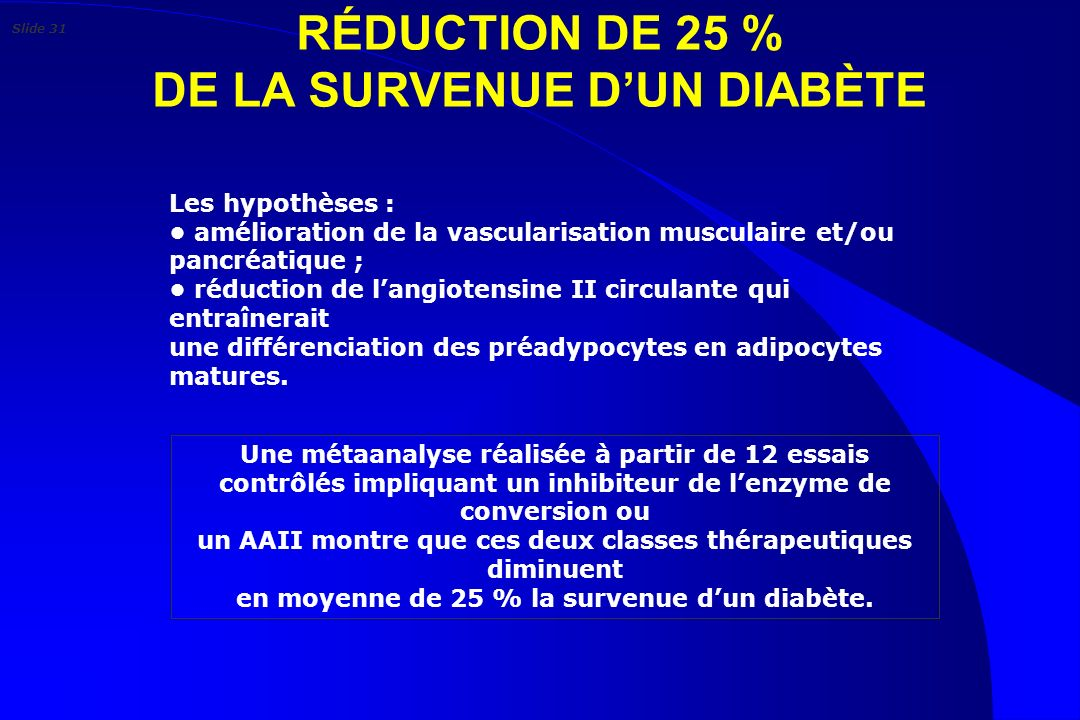 RÉDUCTION DE 25 % DE LA SURVENUE D'UN DIABÈTE