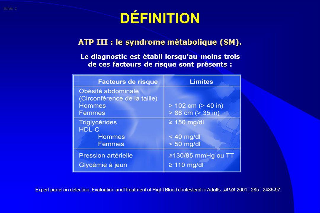 ATP III : le syndrome métabolique (SM).