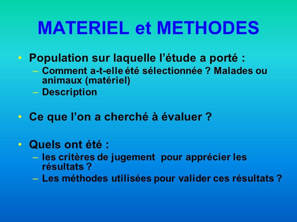 MATERIEL et METHODES Population sur laquelle l'étude a porté :