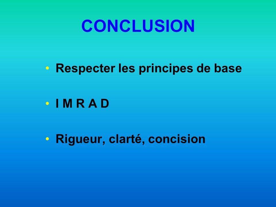 CONCLUSION Respecter les principes de base I M R A D