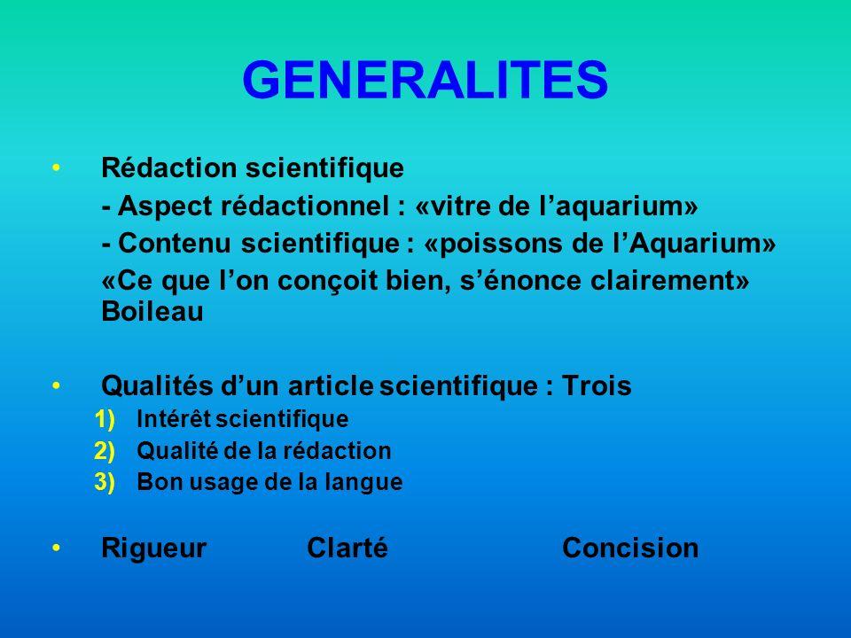 GENERALITES Rédaction scientifique