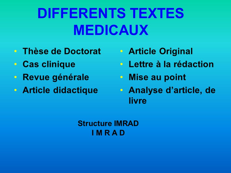 DIFFERENTS TEXTES MEDICAUX
