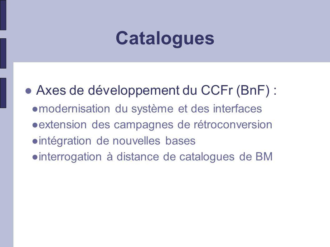 Catalogues Axes de développement du CCFr (BnF) :
