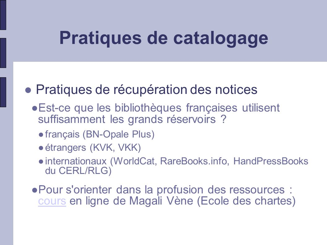 Pratiques de catalogage
