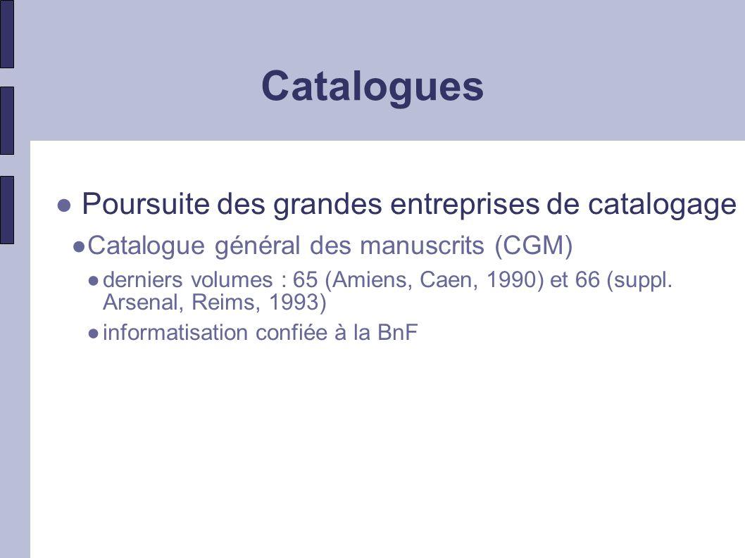 Catalogues Poursuite des grandes entreprises de catalogage