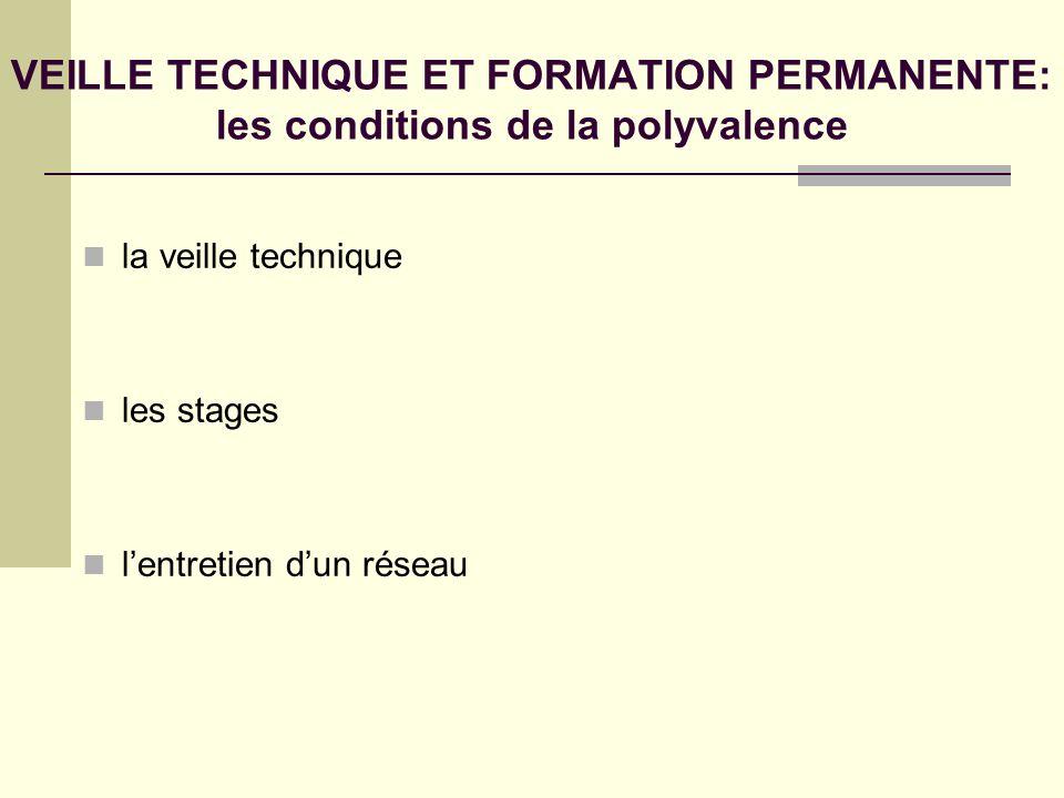 VEILLE TECHNIQUE ET FORMATION PERMANENTE: les conditions de la polyvalence
