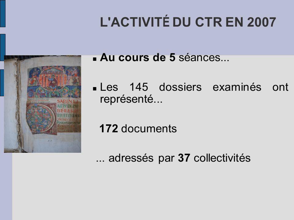 L ACTIVITÉ DU CTR EN 2007 Au cours de 5 séances...