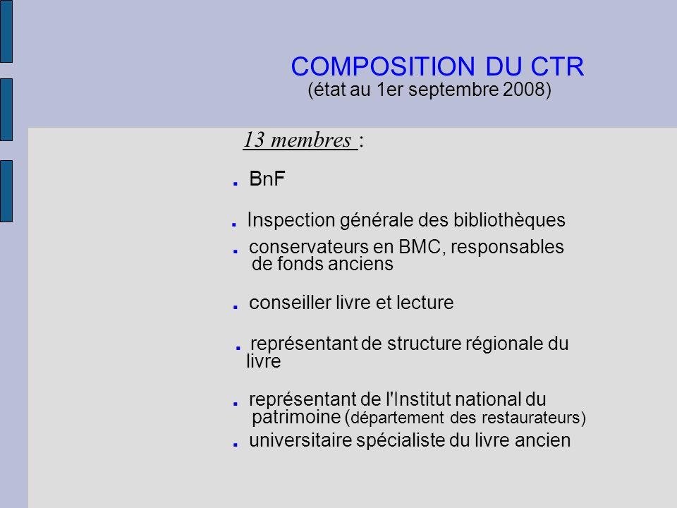 COMPOSITION DU CTR (état au 1er septembre 2008) 13 membres :. BnF