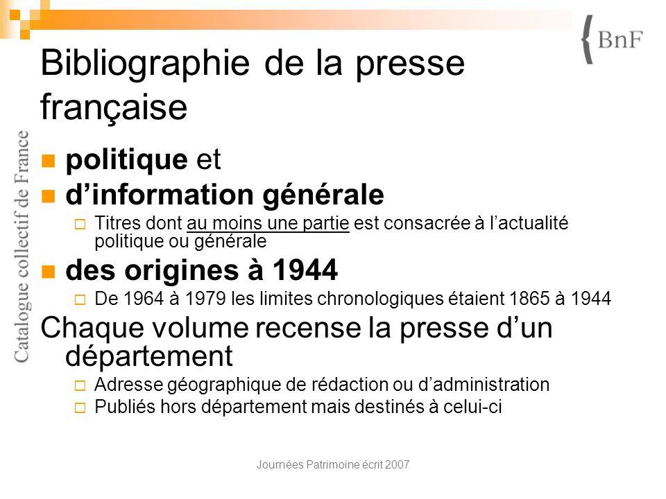 Bibliographie de la presse française