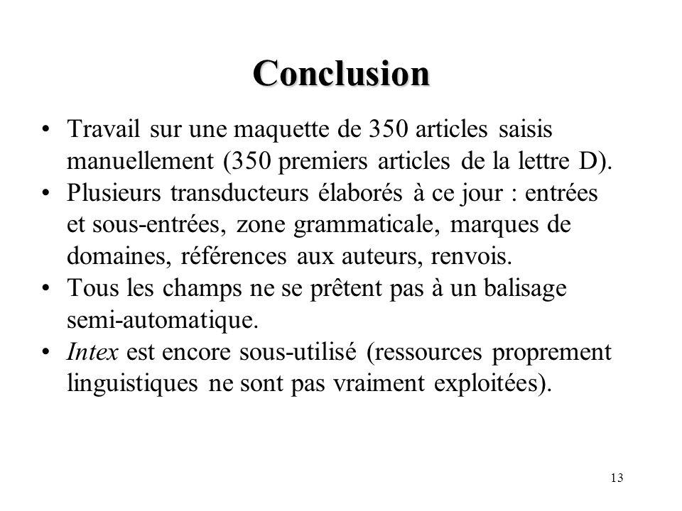 Conclusion Travail sur une maquette de 350 articles saisis manuellement (350 premiers articles de la lettre D).